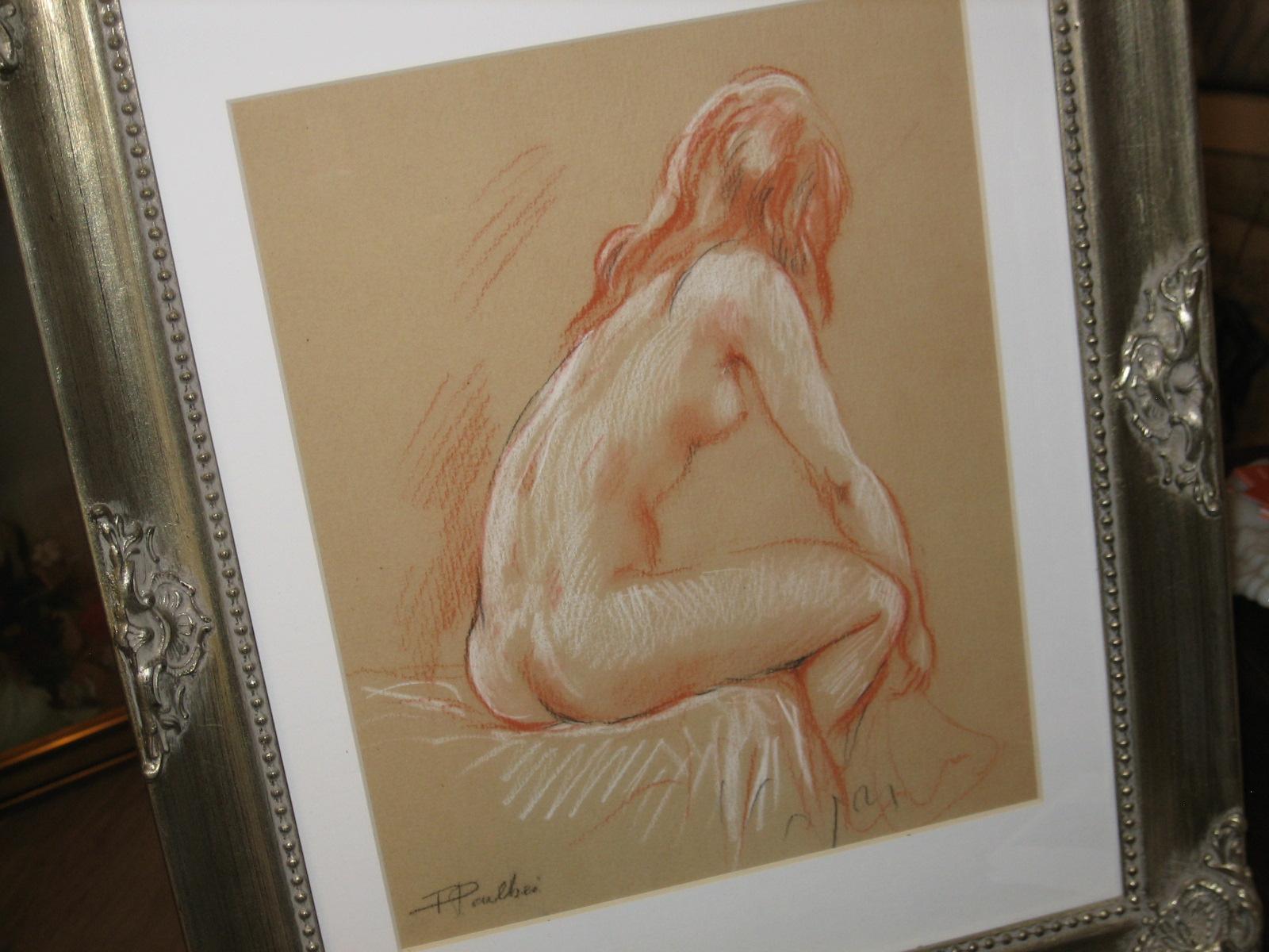 """""""Nu assis"""". Sanguine, par Fred Paillhès."""